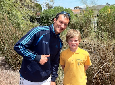 Pictured: Simon Cieplik (Long Beach Tennis Club) and Lucas (What's Your Thing?)